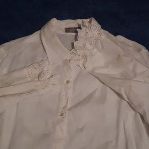 Liz Claiborne linen shirt w battenberg lace XL